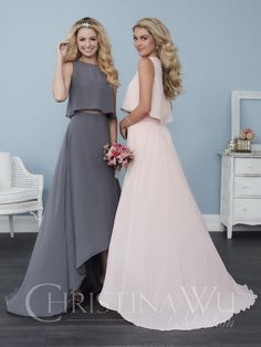 Size 6 White, Style 22760 from Christina Wu Celebration is a two-piece bridesmaid gown featuring a high-low chiffon skirt and a fun and flowy chiffon sleeveless crop top. Colors: Shown in Charcoal/Charcoal & Petal Pink/Petal Pink
