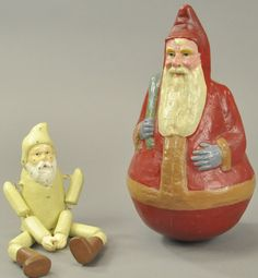 """Germany, a very large Santa Roly Poly figure and rarely seen, white jointed Santa figure from Erzgebirge region of Germany. Roly Poly 12"""" h, jointed figure 11"""" h., Roly Poly restored with inpainting throughout - (Good Cond.)  Jointed figure in (Exc. Cond.)"""