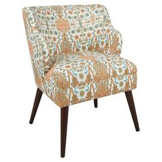 Lend a pop of pattern to your living room or master suite with this tribal-print accent chair, featuring swoop arms and splayed legs.  ...
