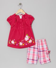 Take a look at this Fuchsia 'Princess' Layered Top & Plaid Shorts - Toddler & Girls by Littoe Potatoes on #zulily today!
