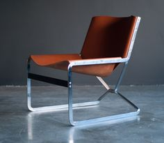 Pierre Paulin; Stainless Steel and Leather Lounge Chair for A. Polak Originals, c1958.