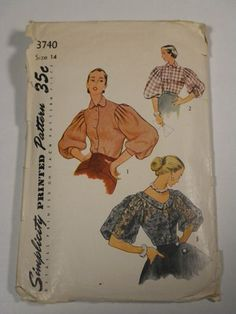 Vintage 1950s Blouse Sewing Pattern Simplicity 3740 ...looking for something like Grace Kelly's wedding dress in High Society. Getting closer...