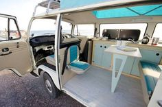Beautiful Photo of Campervan Interior. A campervan is a particular sort of camping car. The campervan will be called a Dormobiles in the uk as well. The campervan will be known as a motor c. Vw Minibus, Vw Vanagon, Vw T1, Volkswagen Beetles, Volkswagen Golf, Volkswagen Bus Interior, Kombi Interior, Motorhome Interior, Kombi Trailer