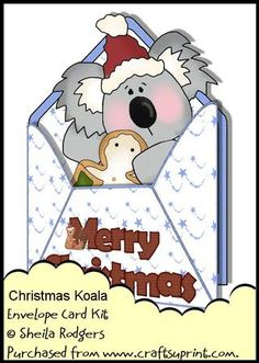 Envelope Card Kit Christmas Koala on Craftsuprint designed by Sheila Rodgers - This kit contains all you need to make this cute Christmas card with matching envelope and gift tags.The kit contains:Main card with decoupage.Insert.Backing paper.Two envelope sheets and two gift tags.There are 5 printable sheets in total. - Now available for download!