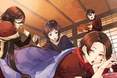 Kashuu, yamato, izuminokami, and horikawa touken ranbu Mutsunokami Yoshiyuki, Touken Ranbu Characters, Samurai Anime, Jojo Bizzare Adventure, Manga Characters, Anime Fantasy, Anime Guys, Anime Art, Character Design
