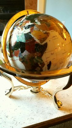 Gemstone globe, custom made globe, amethyst, pearl, jade stone, amber, turquoise, gold, compass base
