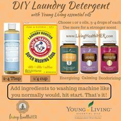 Simple, cheap, and effective non-toxic laundry detergent recipe with Young Living essential oils! Give it a try!