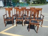 Antiques By Design Set Of 8 Quartered Oak T Back Dining Chairs