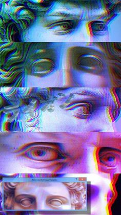 He's looking at you :b Tumblr Wallpaper, Glitch Wallpaper, Wallpaper Backgrounds, Iphone Wallpaper, Vaporwave Wallpaper, Arte Vaporwave, Glitch Art, Renaissance Art, Psychedelic Art