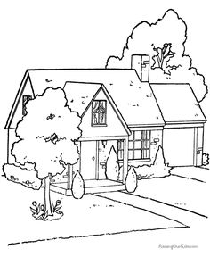 Houses to Color and Print for adults   Free printable house picture to color