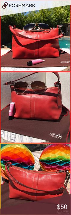 Coach Coach small mini hobo, this is like a burnt orange color. Slightly red, perfect for those busy summer days on the run packing it light!. Tiny tiny scuffs in bottom from packing around insides immaculate as hardly ever used. Small wear signs on corners (light). Summer chic! Coach Bags