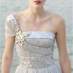 Silver asymmetrical gown