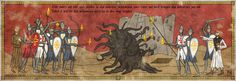 The Crusades and Lovecraft's Monsters This is a series of illustrations that imitates the style of old medieval paintings and adds a macabre flavour by incorporating some of H. The text is mostly medieval Middle High German. Hp Lovecraft, Lovecraft Cthulhu, Tao, Call Of Cthulhu Rpg, Lovecraftian Horror, Eldritch Horror, Medieval Paintings, Famous Monsters, Fantasy Map