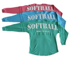 "Softball ""Born To Play"" Spirit Shirt https://www.varsitygirl.net/collections/softball/products/softball-born-to-play-spirit-shirt"