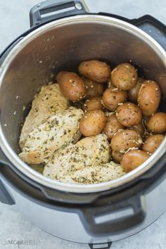 This Pesto Parmesan Instant Pot Chicken Breast and Potatoes is a healthy dinner recipe that is loaded with flavor and comes together in no time! Includes recipe video. #instantpot #pressurecooker #chicken #chickenbreast #healthy #recipe