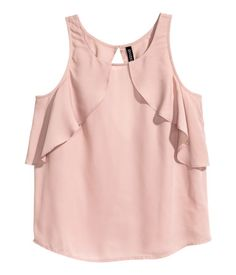 Wide-cut, sleeveless blouse in woven fabric. Ruffles at front and at back, low-cut V-neck at back, and button at back of neck. Crop Top Outfits, Skirt Outfits, Kids Summer Dresses, Low Cut Dresses, Stylish Dress Designs, Looks Plus Size, Clothing Hacks, Blouses For Women, Trends