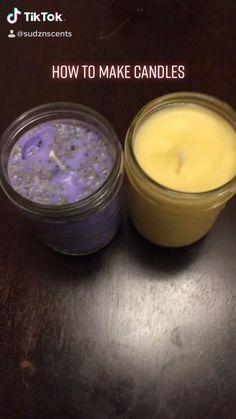 Diy Aromatherapy Candles, Diy Unscented Candles, Diy Candles Mason Jars, Diy Organic Candles, Soy Wax Candles, Diy Crafts Hacks, Diy Arts And Crafts, Homemade Crafts, Diys