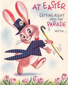 #vintagegreetingcards #vintageillustration #vintagecards #vintageephemera #ephemera #greetingcards #illustration #bunny #easter #vintageeaster Easter Books, Easter Art, Easter Crafts, Easter Bunny, Easter Bonnets, Vintage Easter, Vintage Holiday, Holiday Fun, Easter Greeting Cards