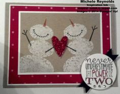 """Handmade card by Shannon Aydukovic.  Uses Stampin' Up! products - Snow Day Set, Yippee-Skippee! Set, Polka Dot background stamp, Glimmer Paper, 1-3/4"""" Circle Punch, and Bitty Banners Framelits."""