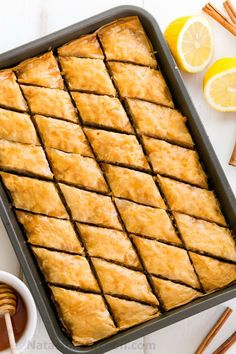 How to Make Baklava (VIDEO tutorial). This Baklava has amazingly crisp layers with perfectly moist centers and subtle nutty crunch, and it's not overly sweet! Greek Desserts, Köstliche Desserts, Greek Recipes, Delicious Desserts, Dessert Recipes, Yummy Food, Kitchen Recipes, Cooking Recipes, Cooking Ideas