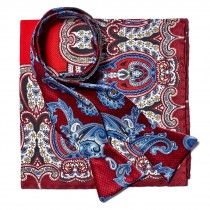 Bruno Piatelli Red, Blue and White Bow Tie and Pocket Square Set