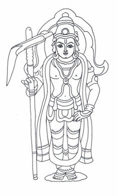 Line-Art Balarama Avatar Kerala Mural Painting, Tanjore Painting, Indian Art Paintings, Outline Art, Outline Drawings, Art Drawings Sketches Simple, Lord Shiva Painting, Krishna Painting, Krishna Art
