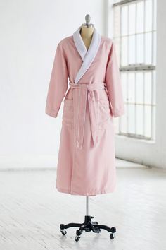 Classic Spa Robe - Terry Cloth   Microfiber - Pink White 8c2fbcdf2