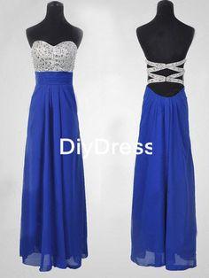 Bleu royal mousseline de soie jupe cristal perles corsage-parole longueur robes de bal, robes de fête Sexy soirée Backless