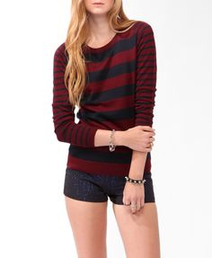 Striped Contrast Sleeve Sweater | FOREVER21 - 2031556921