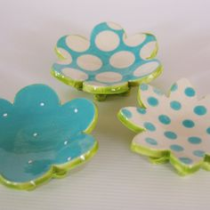 adorable blue, lime, and white clay flower dishes