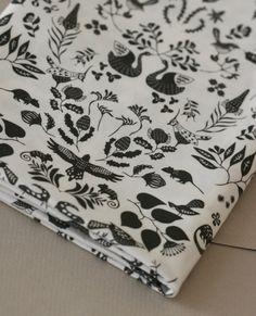 Swan River Colony Damask - Half Yard of Fabric - Black on White. $17.00, via Etsy.