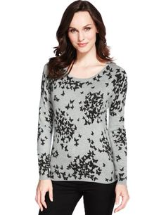M&S Collection Butterfly Print Jumper