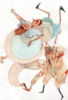Another image from Veronia Ruffato's Pinocchio series. I love the chaos in this image of the body placement and expressions. The chaos is softened with the complementary colour palette of soft blues and orange. Art And Illustration, People Illustration, Character Illustration, Watercolor Illustration, Storyboard, Children's Comics, Veronica, Whimsical Art, Illustrators