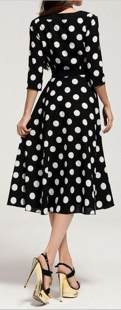 3/4 Sleeves Scoop Neck Polka Dot Pattern Ladylike Dress For Women