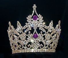 Pageant, Royalty & Bridal :: Gold Tiaras & Crowns :: Pageant & Queen (Over :: Large Adjustable Amethyst Crown Royal Crown Jewels, Royal Crowns, Royal Tiaras, Royal Jewelry, Tiaras And Crowns, Pageant Crowns, Bijoux Art Nouveau, Queen Crown, Family Jewels