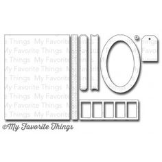 """MFT Stamps   Die-namics Blueprints 2   Dies: Large rectangle 4 1/8"""", x 5 3/8"""", Stitched strip 5 3/8"""" x 3/8"""", Pierced labels (2) 3 ½"""" x ½"""", Oval frame 2 ½"""" x 3 5/8"""", Tag 1"""" x 1 5/8"""", Reinforcement ¼"""" diameter, Filmstrip 3 ¾"""" x 1 ¼"""" (individual openings measure 5/8"""" wide.)"""