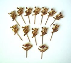 #Vintage Lot of 12 #Koala and 2 #Kangaroo/Boomerang Stick Pins,  View more on the LINK: http://www.zeppy.io/product/gb/3/248845215/