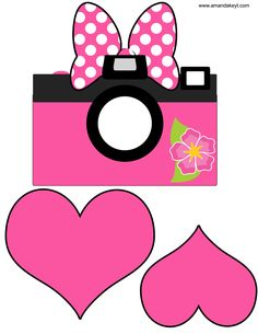 Camera & Hearts from Minnie's Luau Inspired Printable Photo Booth Prop Set