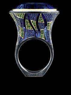 Jewellery Art-Stones Ring,18K White Gold. sapphire, diamonds, sapphires, tsavorites.