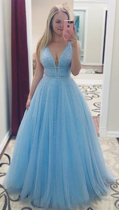 Prom Dress Beautiful, A-Line/Princess Sleeveless V-neck Floor-Length Pearls Tulle Dresses Discover your dream prom dress. Our collection features affordable prom dresses, chiffon prom gowns, sexy formal gowns and more. Find your 2020 prom dress Straps Prom Dresses, A Line Prom Dresses, Tulle Prom Dress, Cheap Prom Dresses, Party Dresses, Light Blue Prom Dresses, Light Blue Long Dress, Light Blue Quinceanera Dresses, Banquet Dresses