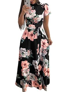 625c2559e8c ONine Women s Floral Printed Maxi Dress Short Sleeve Casual Swing Long Maxi  Dress with Belt at