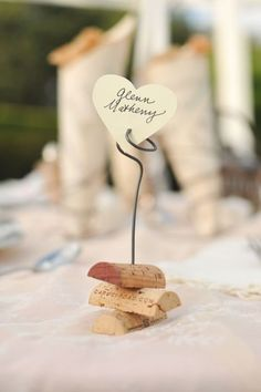 How sweet are these wine cork and rustic wire wedding place cards? Change it up a bit.maybe just one whole cork. Wedding Place Cards, Wedding Wishes, Our Wedding, Trendy Wedding, Wedding Shoot, Lace Wedding, Wine Cork Wedding, Rustic Wedding Favors, European Wedding