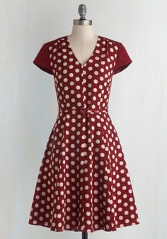 You've never been one to shy away from taking chances, and when you zip into this dotted dress from Myrtlewood, your confidence soars! Taking to the streets in the ivory polka dots, deep V-neck, and matching belt of this maroon, ModCloth-exclusive dress, you choose a spot right outside of the museum and grab a guitar pick from one of your frock's pockets. You tap the toes of your black flats as you strum, then confidently begin to sing louder than you ever have before!