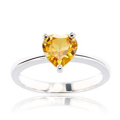 CHROMA Sterling Silver Heart Austrian Crystal Birthstone Ring (Size 8, golden topaz), Women's, Yellow