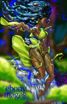 The second mage in my Ebony Mages series is a River Mage. The very force behind the continuous flow and movement of all rivers, these powerful mages bring life bringing water to all manner of beast. Sexy Black Art, Black Love Art, Black Girl Art, Art Girl, African American Art, African Art, Comic Books Art, Comic Art, Arte Black