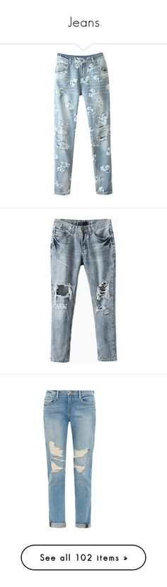"""""""Jeans"""" by stellarmushi ❤ liked on Polyvore featuring jeans, pants, bottoms, blackfive, blue, floral printed jeans, distressed jeans, destruction jeans, destroyed jeans and torn jeans"""
