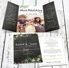 Bespoke Floral Chalkboard Wedding Invitation With Photo. Order your custom wedding invitation at Boardman Printing. Visit www.facebook.com/BoardmanPrinting