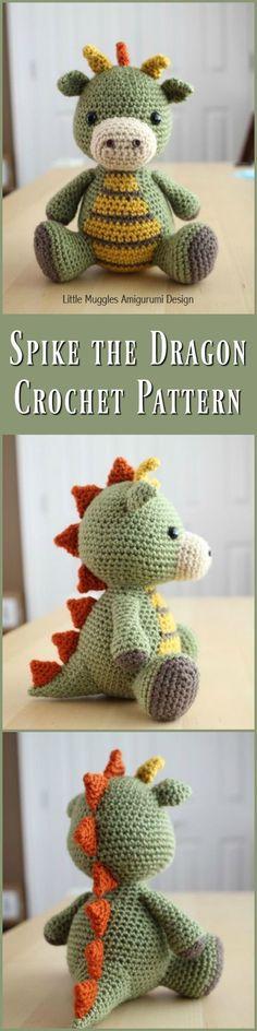 Amigurumi Crochet Pattern - Spike the Dragon #etsyshop #crochet #ad #crochetpattern #crochetdoll #amigurumidoll #download
