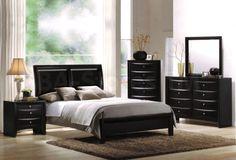 Black Solid Wood Bedroom Furniture