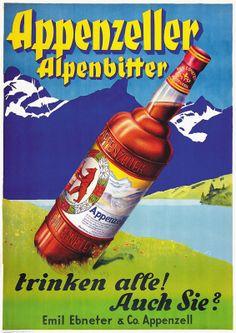 Appenzeller Alpenbitter trinken alle! Auch Sie? Emil Ebneter & Co. Appenzell. 1939.